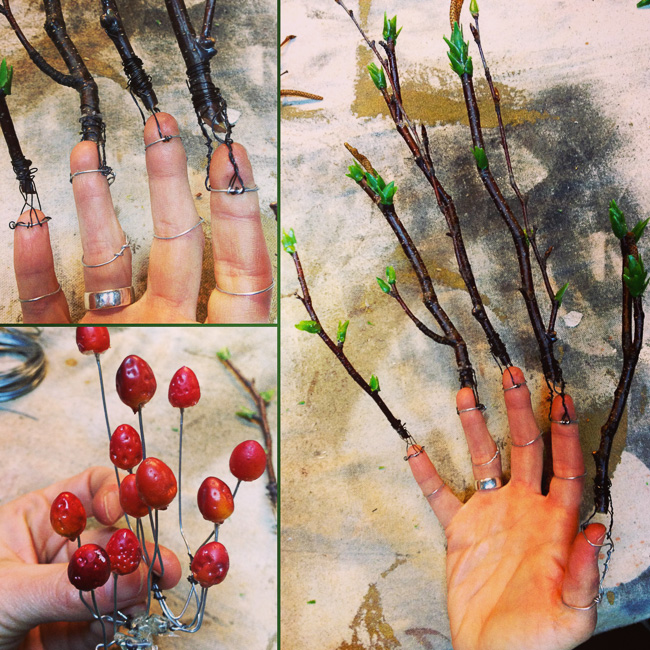 Creating the wire substructure for the stick finger cuffs and a series of small mushrooms.