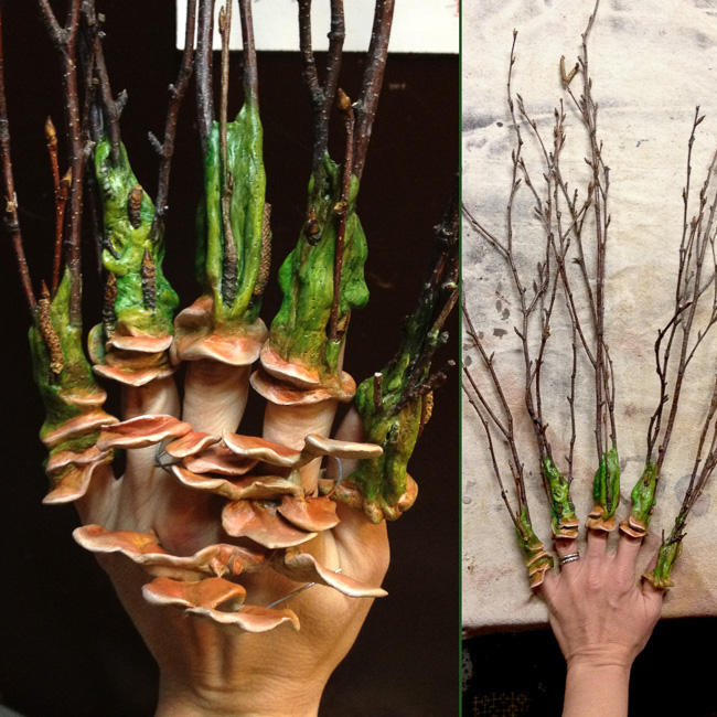Painted finger cuffs paired with fungal growths. These were worn by the actress.